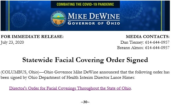 Statewide Facial Covering Order Signed